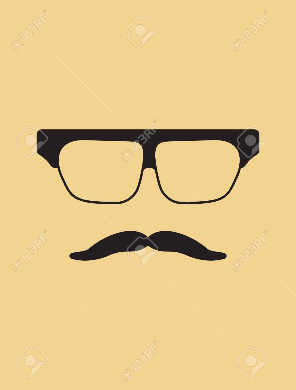 Hipster Template Nerd Glasses And Mustaches Royalty Free Cliparts ...