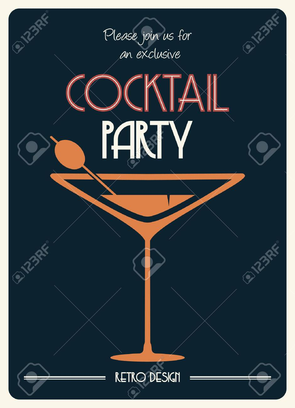 cocktail retro poster - 24355373
