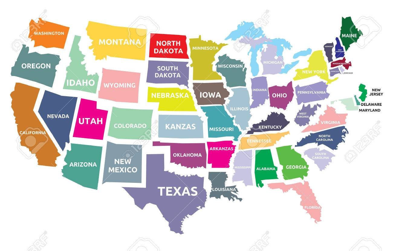 USA Map With States Royalty Free Cliparts Vectors And Stock - Usa map showing states