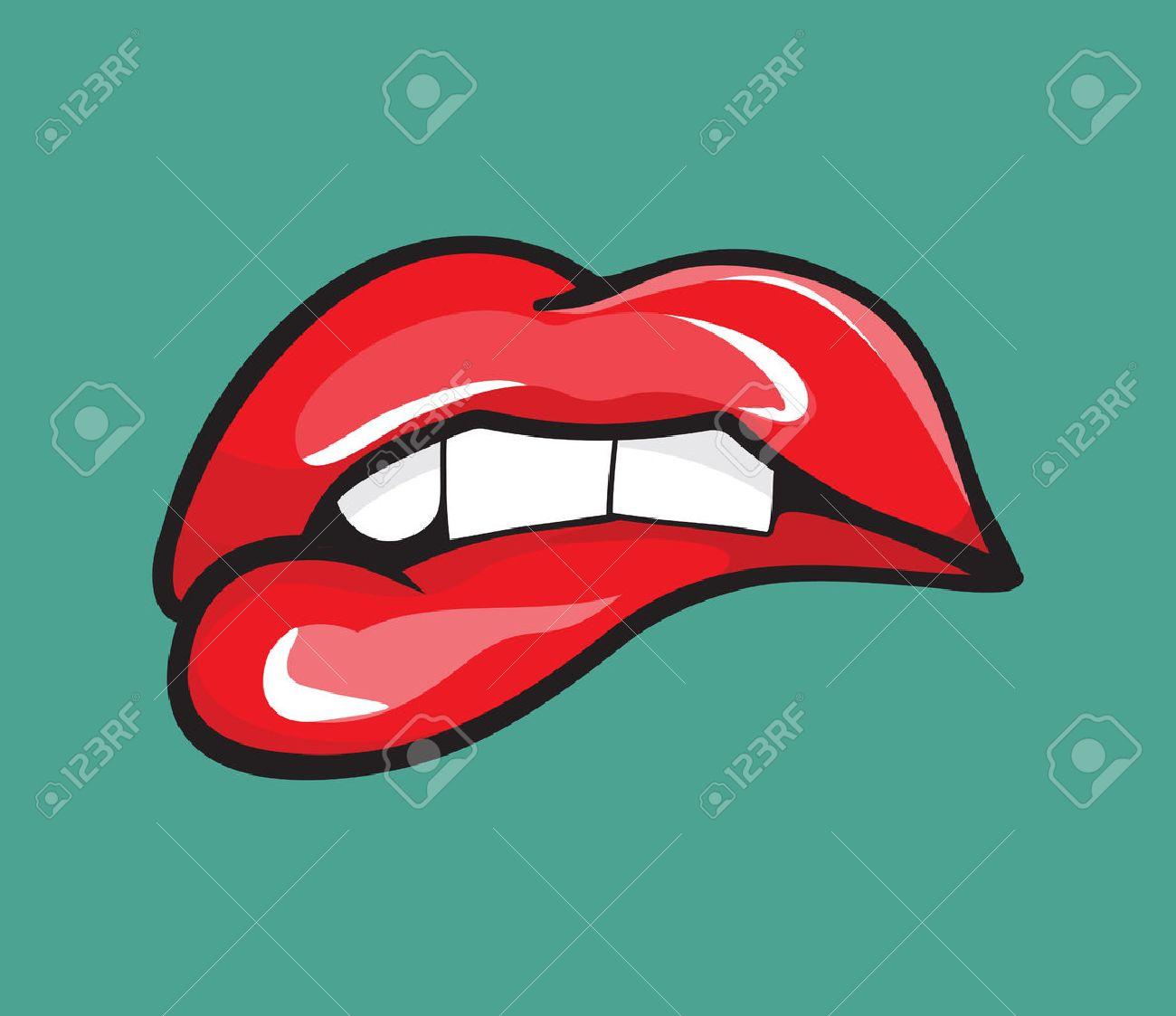 Biting her red lips teeth pop art - 38127398