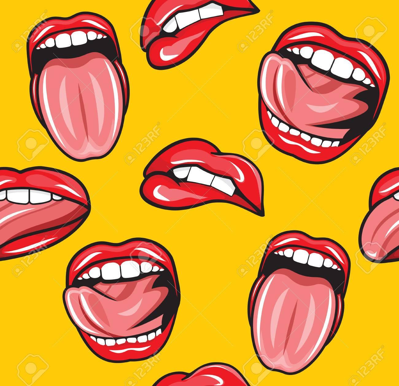 Mouth pop art vector seamless pattern - 41478782