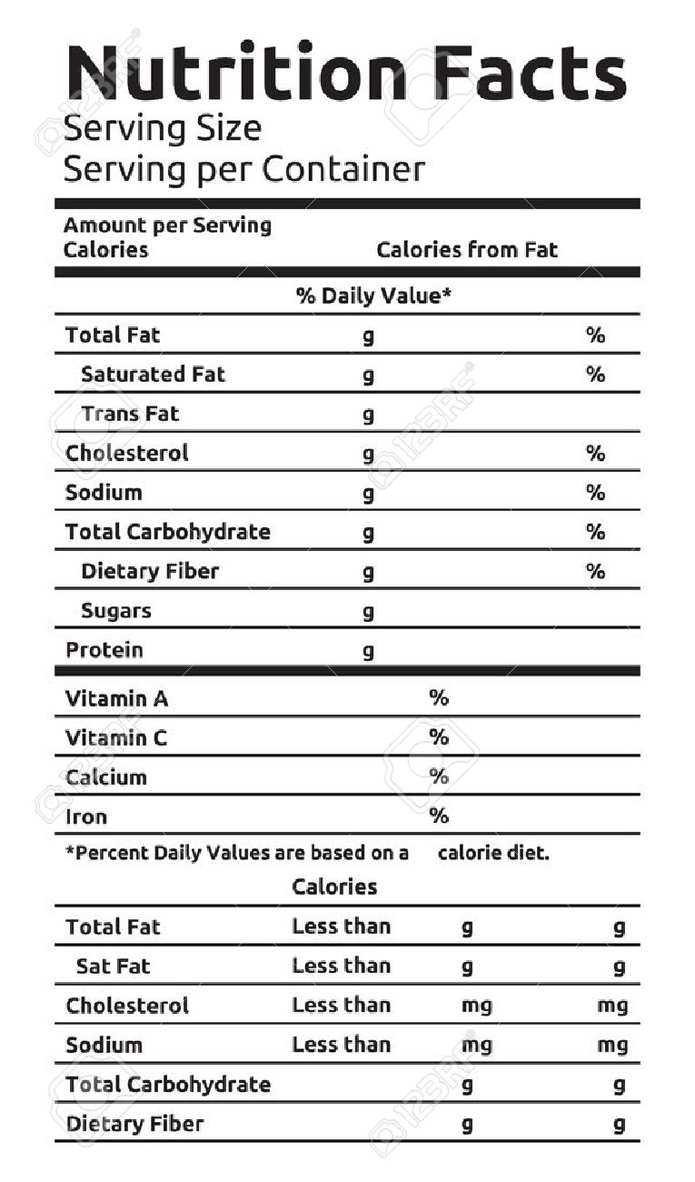 Nutrition Facts Vector Food Label - 41261518