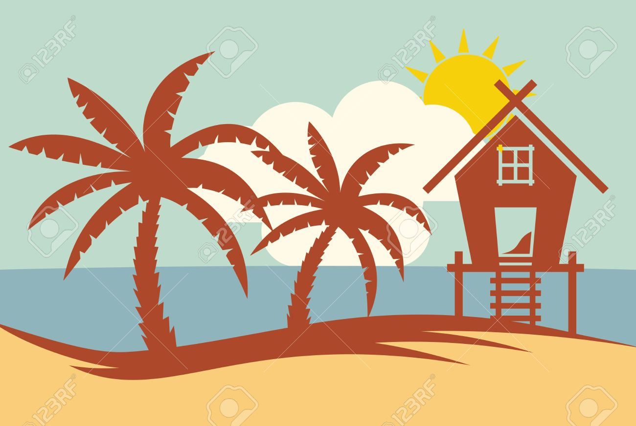tropical summer vector illustration palm tree and beach house rh 123rf com beach vector graphics beach vector free