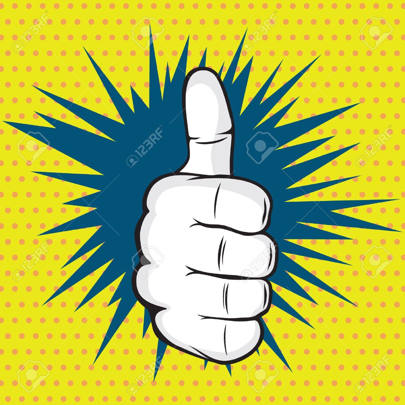 OK finger pop art vector illustration - 41198422
