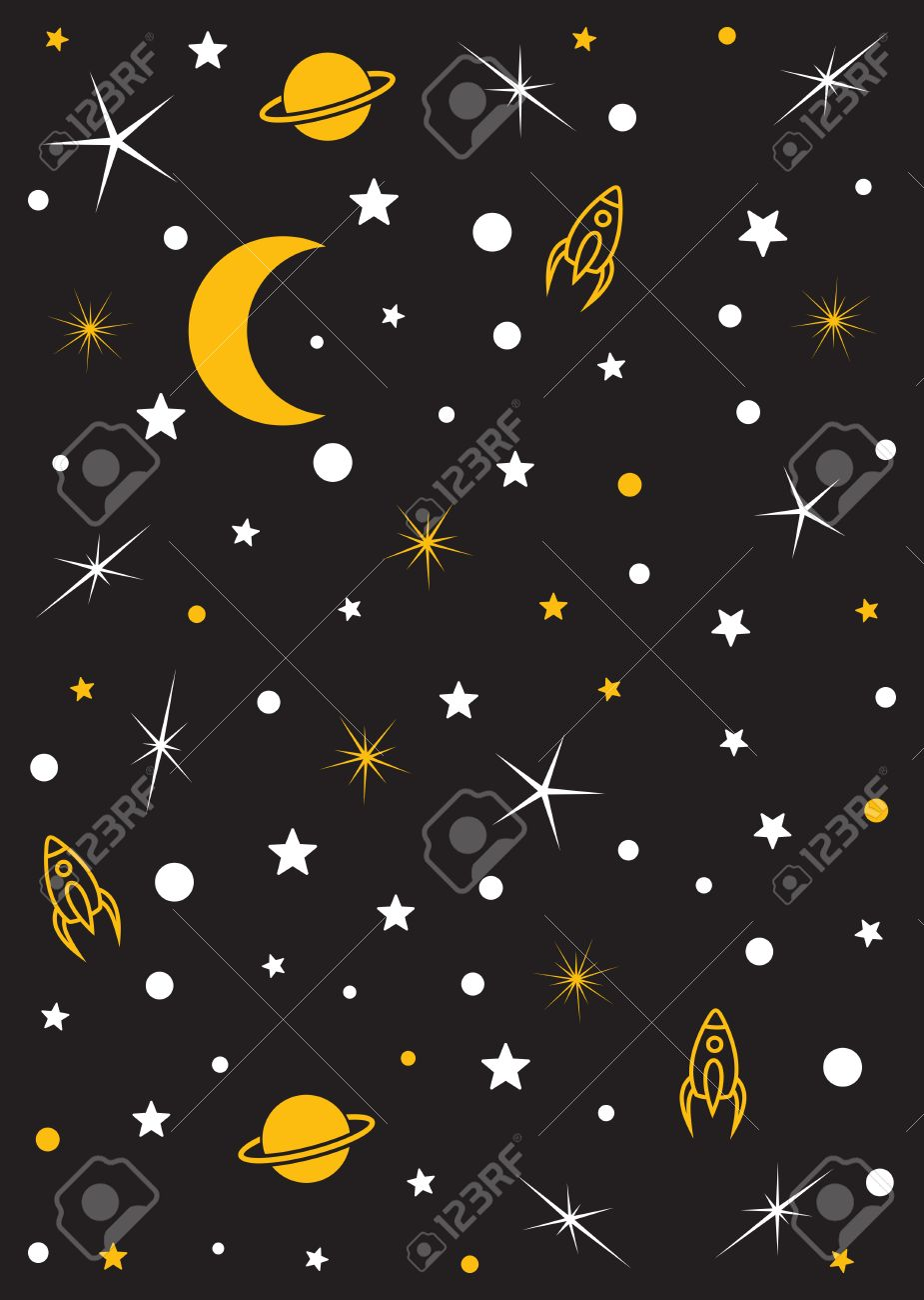Moon, stars, planets, space vector background - 47769874
