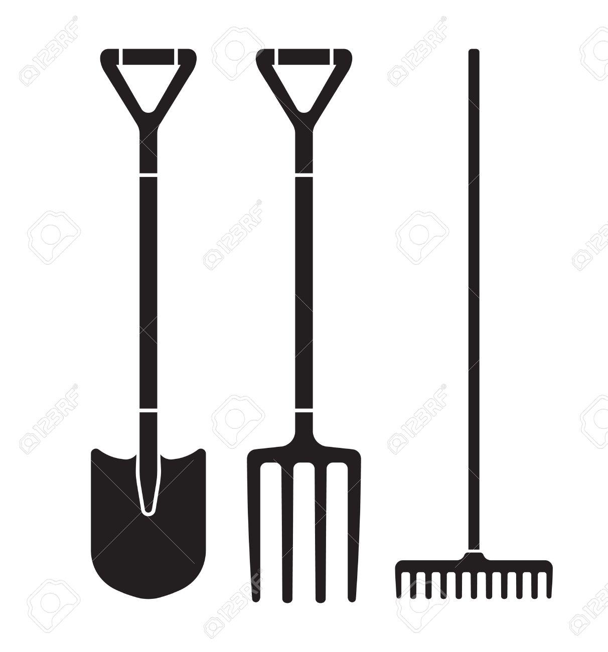 Garden tool spade, pitchfork and rake vector icons - 47721166