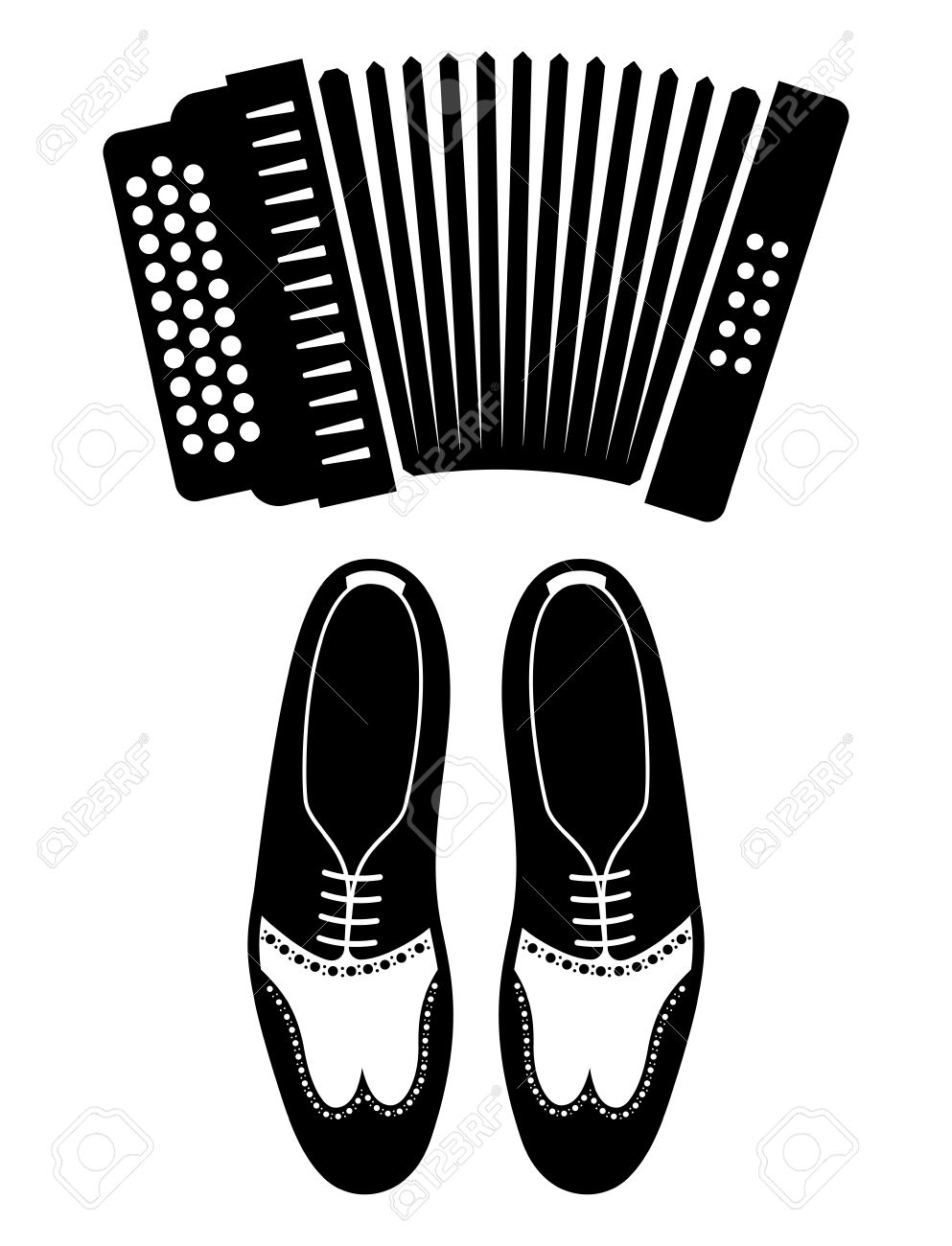 Tango vector icons - shoes and accordion - 47612621