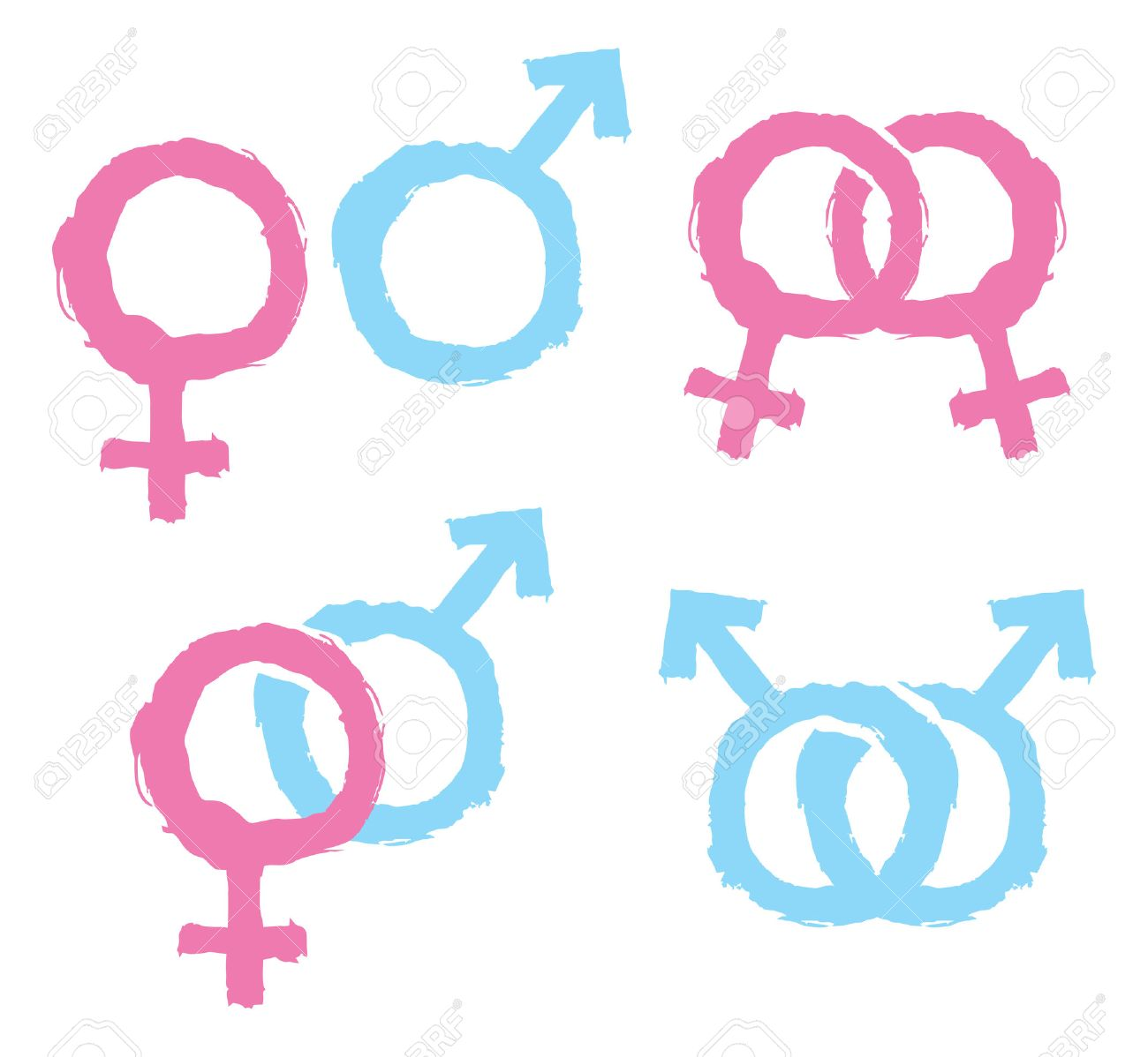 Male And Female Gender Symbols Combination Royalty Free Cliparts