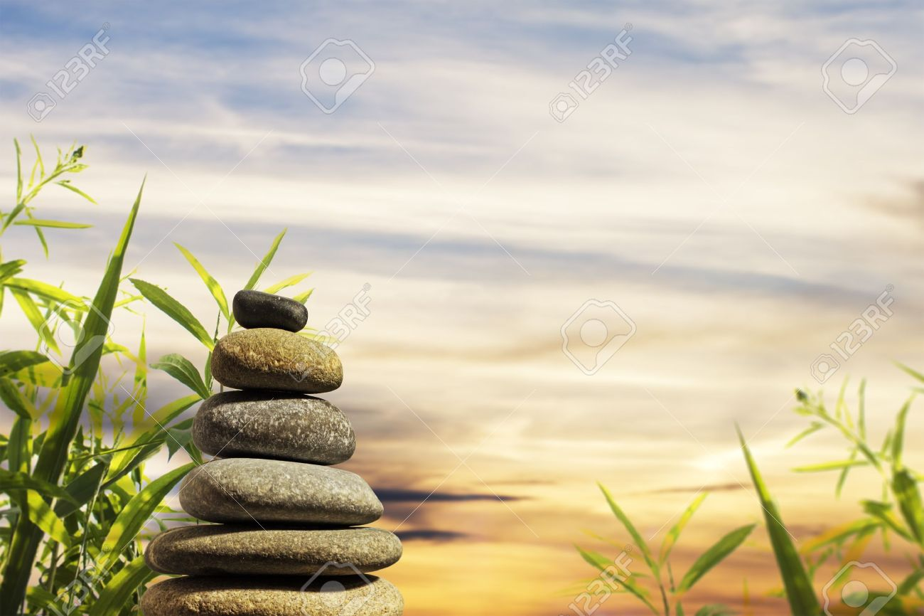 Zen Stones With Nice Nature Background Stock Photo, Picture And Royalty  Free Image. Image 9823062.