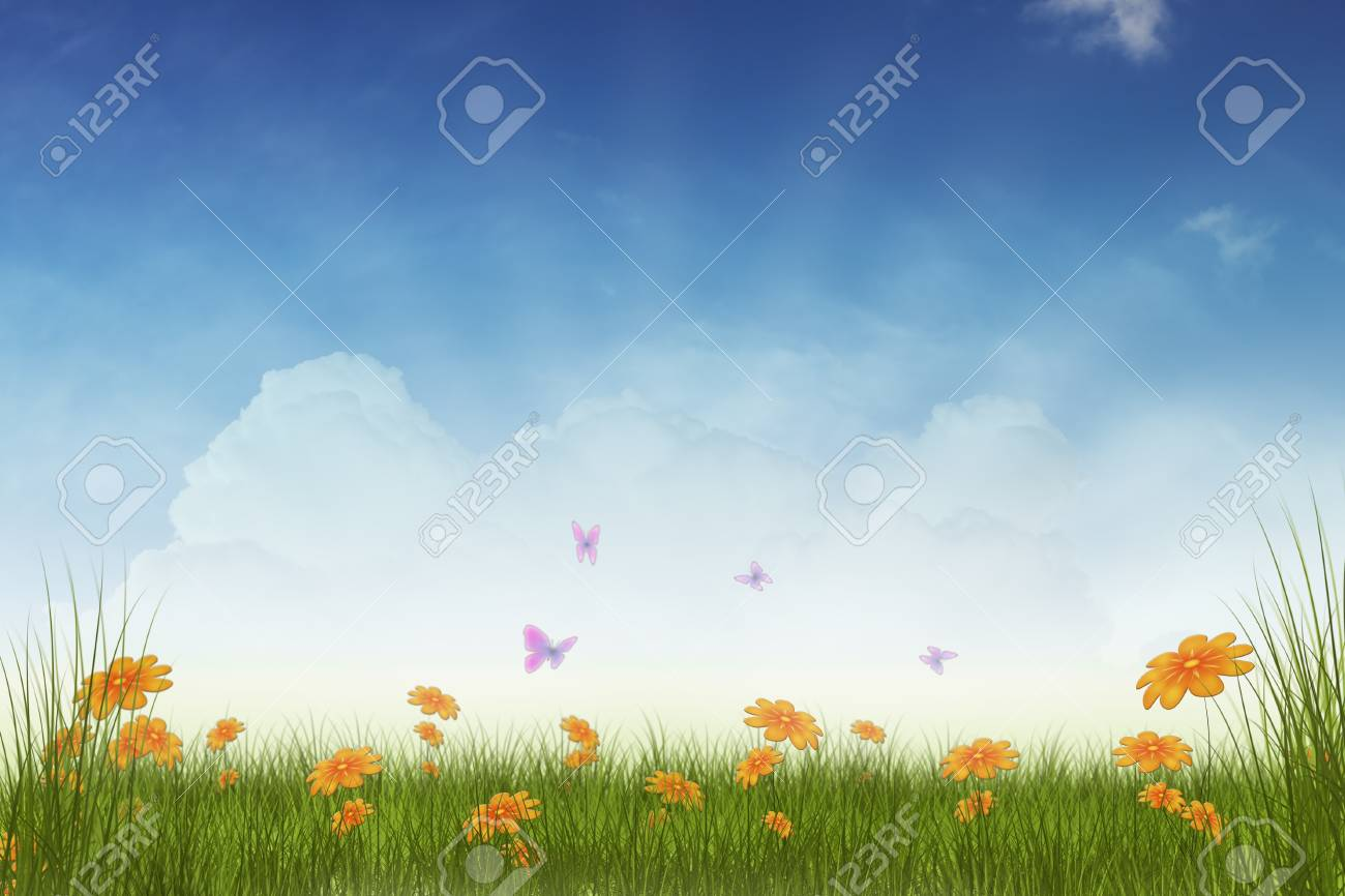 Spring meadow with flowers and butterflies Stock Photo - 18031441