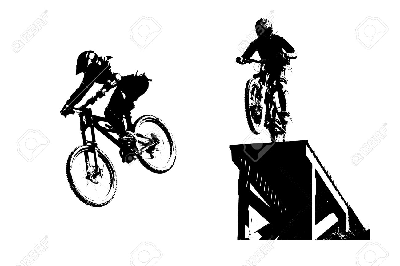 mountain bike silhouettes stock photo 19804069