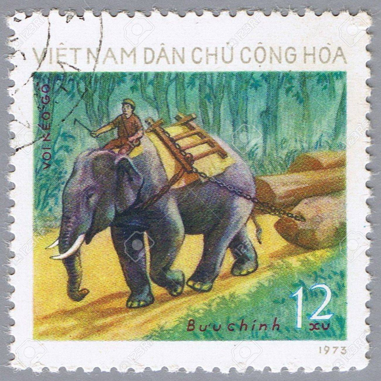 VIETNAM - CIRCA 1973: A stamp printed in Vietnam shows image of an elephant, series, circa 1973 Stock Photo - 7953509