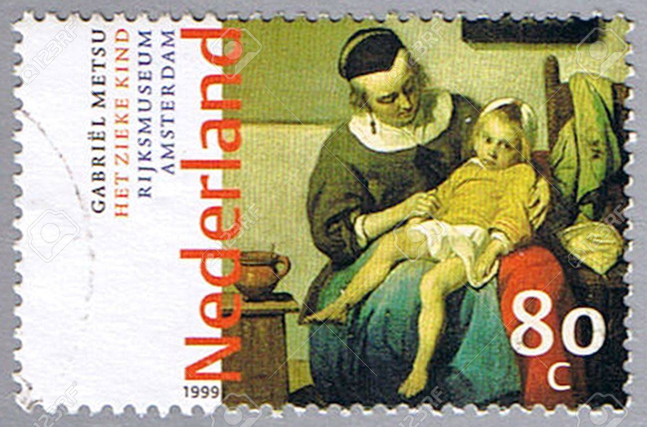 NETHERLANDS - CIRCA 1999: A stamp printed in Netherlands shows �The Sick Child� by Gabriel Metsu, series, circa 1999 Stock Photo - 11543896