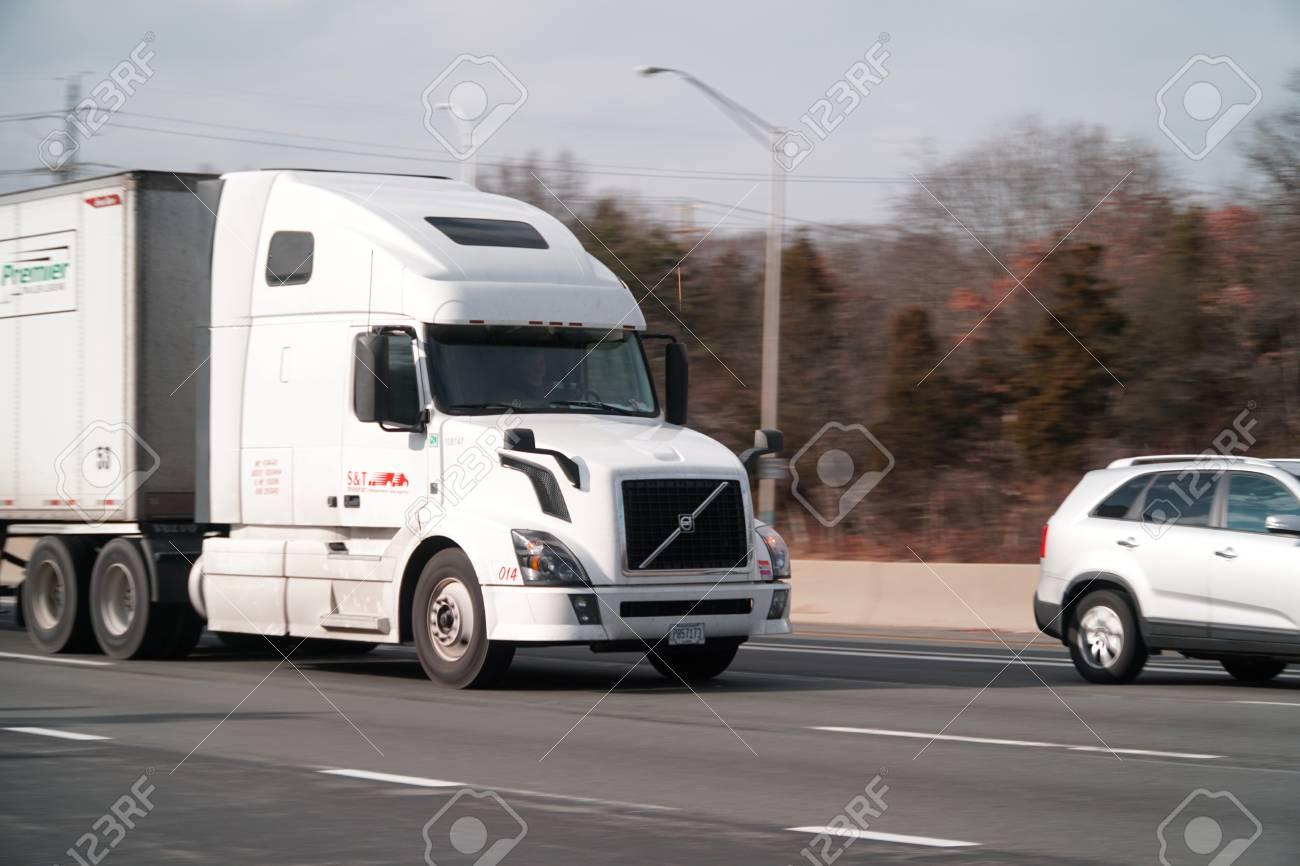 Long Island Ny Circa 2017 Large Semi Tractor Trailer Truck
