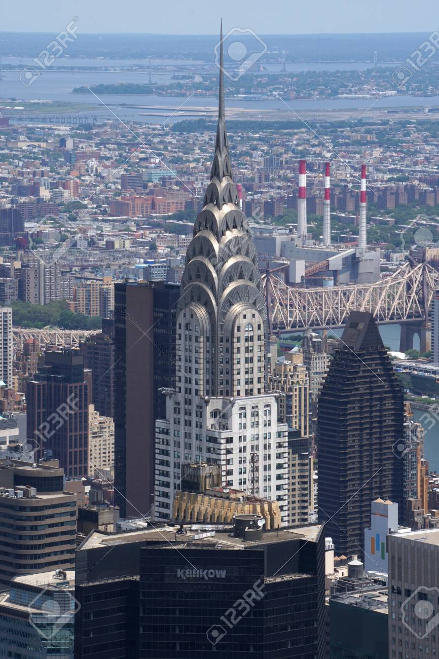 new york city ny july 12 2016 aerial of chrysler building