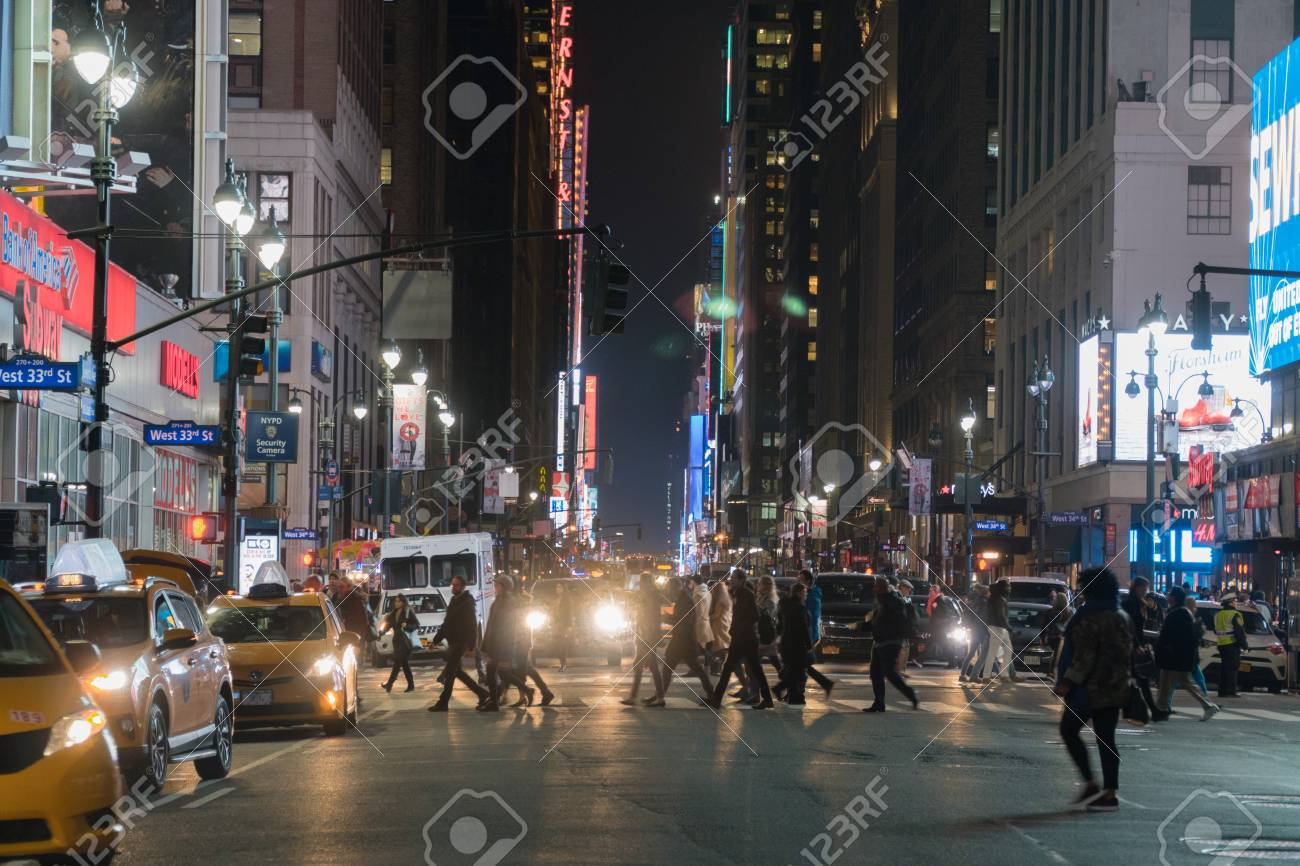 New York City Circa 2017 Night Time Wide Angle View Of Midtown Stock Photo Picture And Royalty Free Image Image 93911749