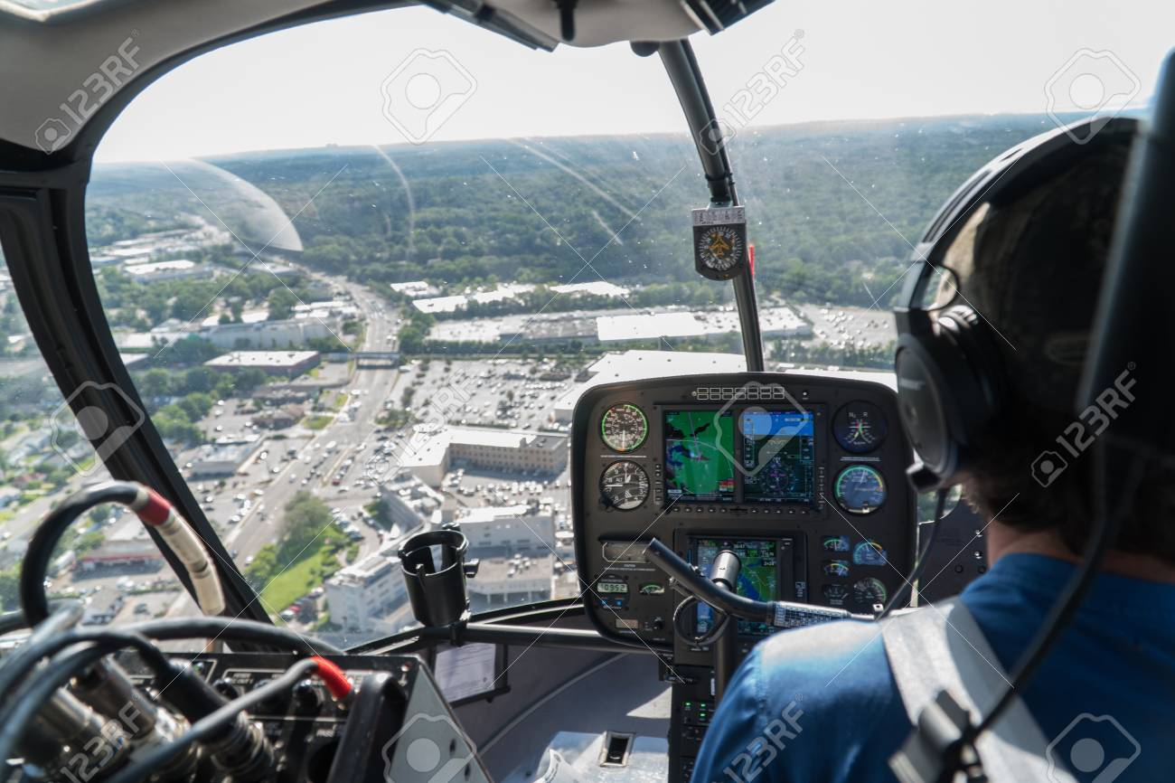 New York City Circa 2017 Aerial View Inside Helicopter Cockpit Flying Over Suburban Area