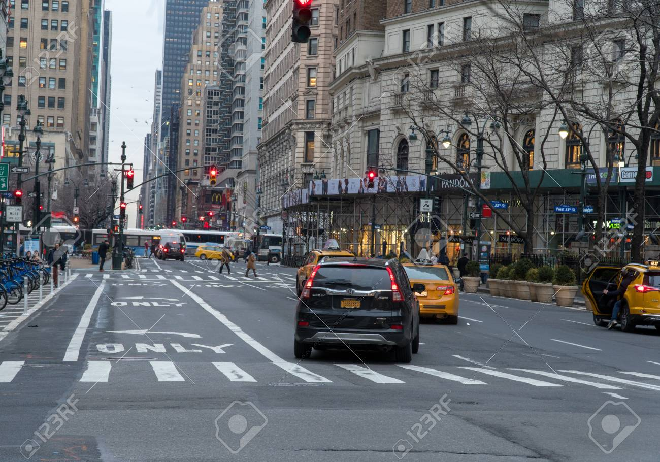 New York City Circa 2018 Manhattan Street View Morning Traffic