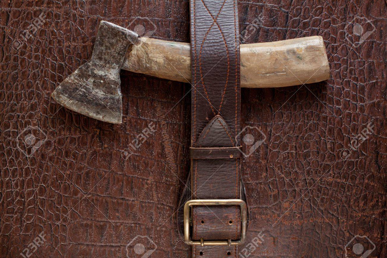 Vintage crocodile leather textured background with old axe Stock Photo - 13683666