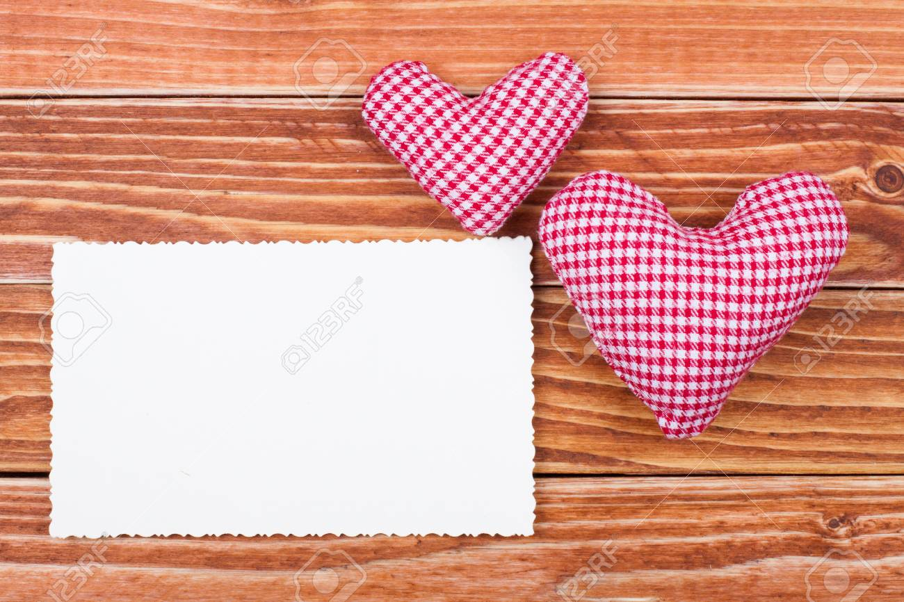 Valentine card with hearts on wooden background Stock Photo - 17836187