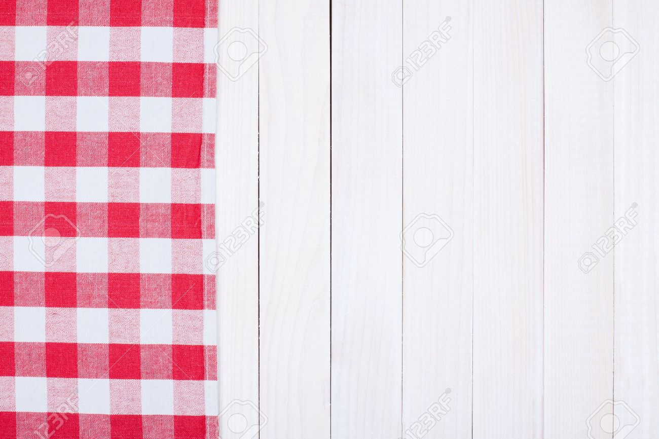 Picnic table background - Picnic Table Tablecloth Textile Texture On Wooden Table Background