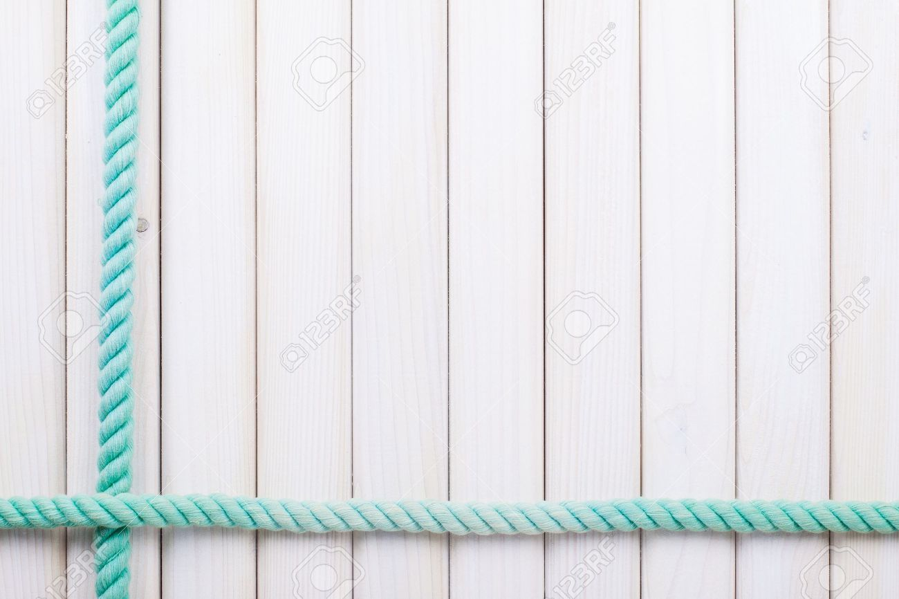 White wooden planks with rope background Stock Photo - 18215925