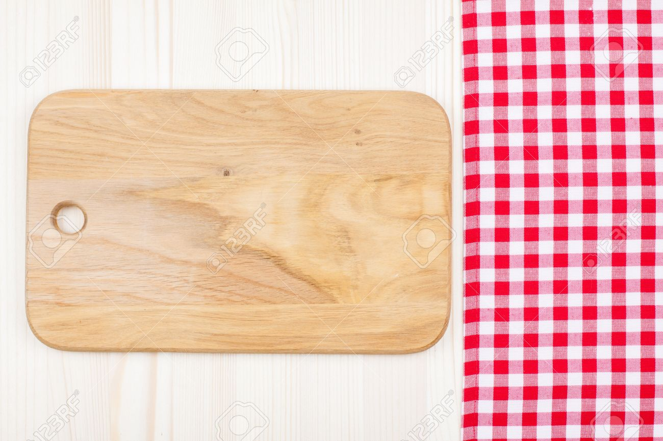 Kitchen Table Background red and white tablecloth, kitchen plank on wood table background