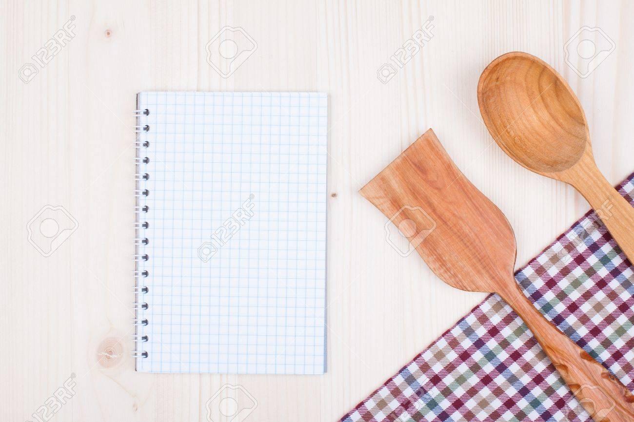 Rezept Notebook Papier, Küche Tischdecke, Kochlöffel, Spachtel Auf ...