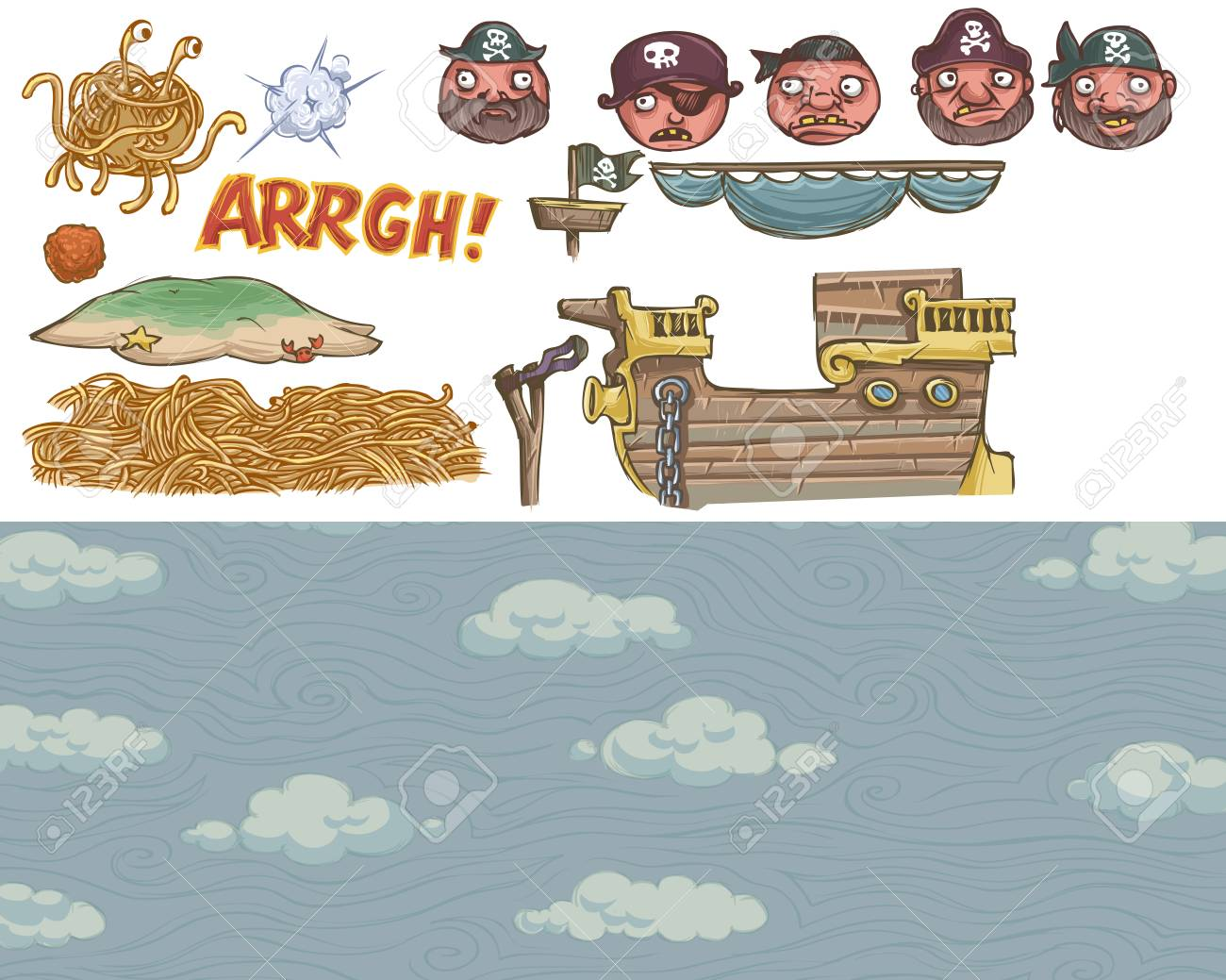 angry flying spaghetti monster set royalty free cliparts vectors