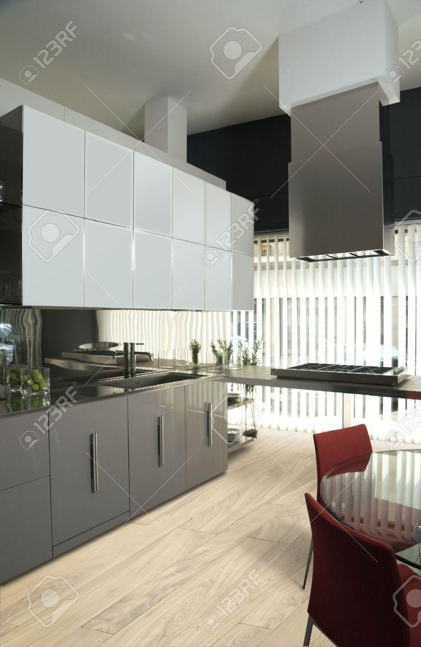 Modern Luxury Kitchen Designs Modern Luxury Kitchen With Olive Tree Parquet Stock Photo Picture