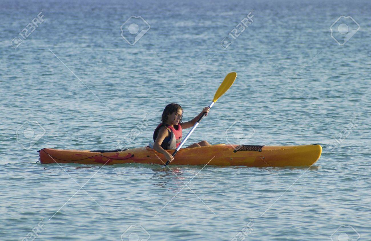 young girl learning to kayaking Stock Photo - 3313159
