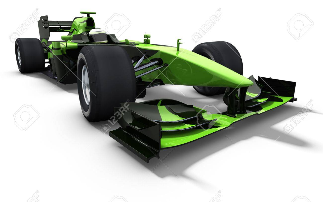3d illustration/rendering of a green race car isolated on white - my own car design Stock Photo - 6494167