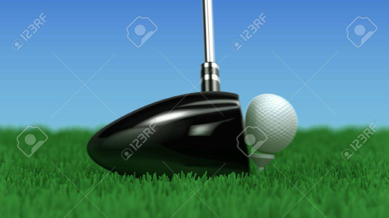 close up of a driver hitting a golf ball motion frozen in the