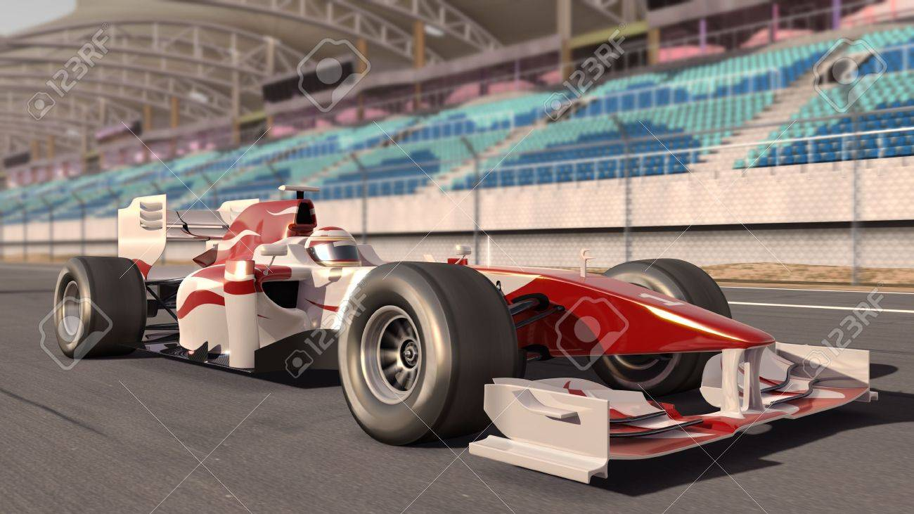 high quality 3d rendering of a formula race car on track Stock Photo - 6696772