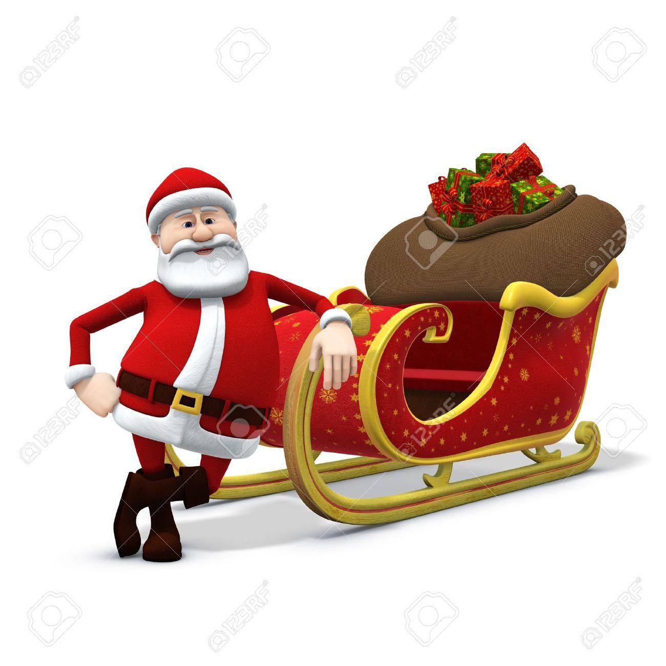 3d rendering/illustration of a cartoon santa leaning against his sleigh Stock Illustration - 7315435