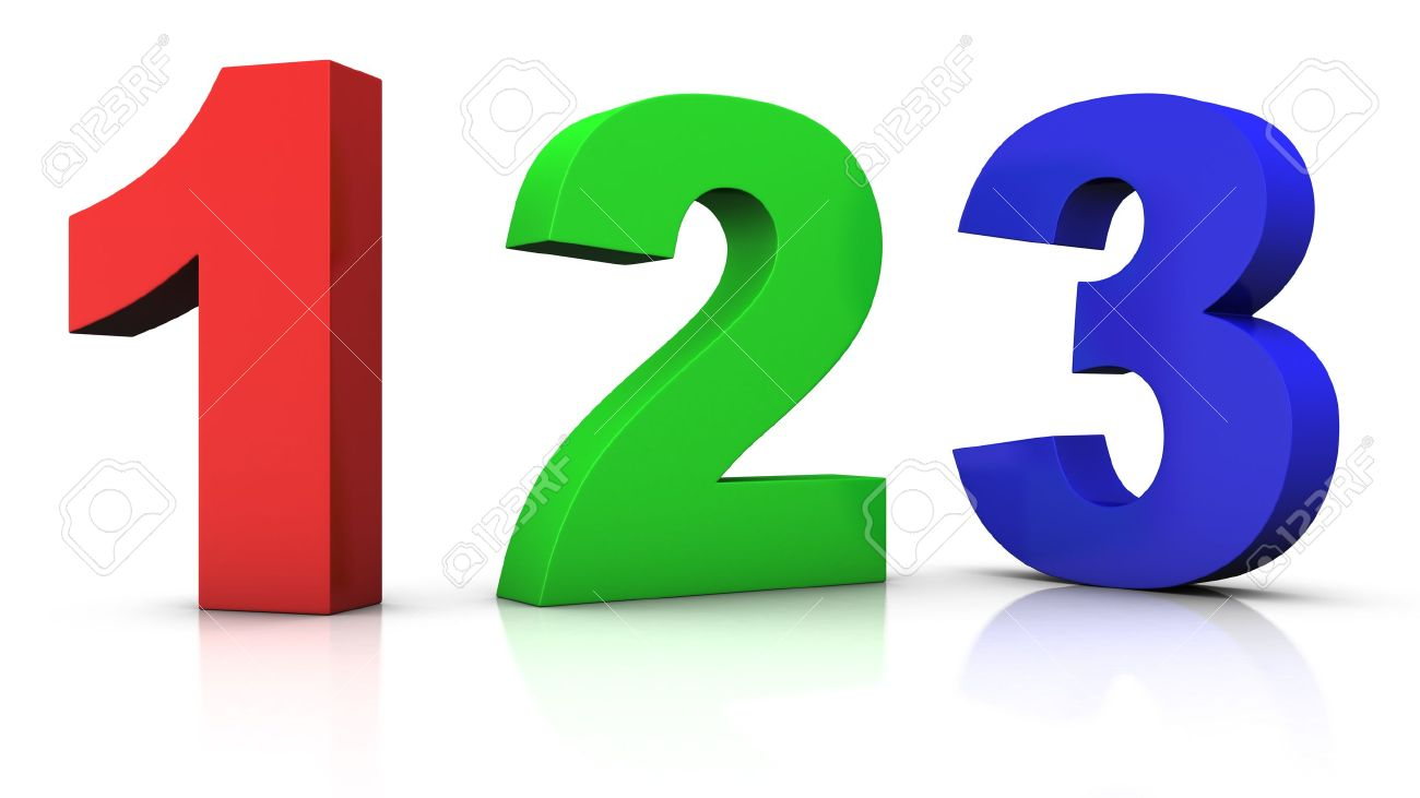 big red green and blue 3d numbers 123 - 3d rendering/illustration Stock  Illustration -