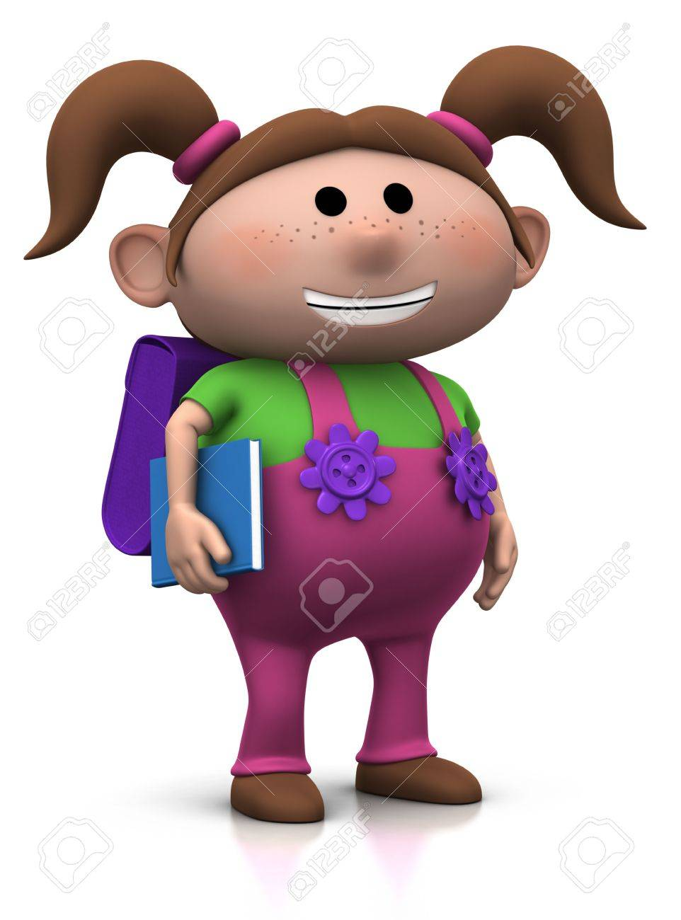 cute brownhaired girl with a satchel on her back and book under her arm - 3d rendering/illustration Stock Photo - 7583938
