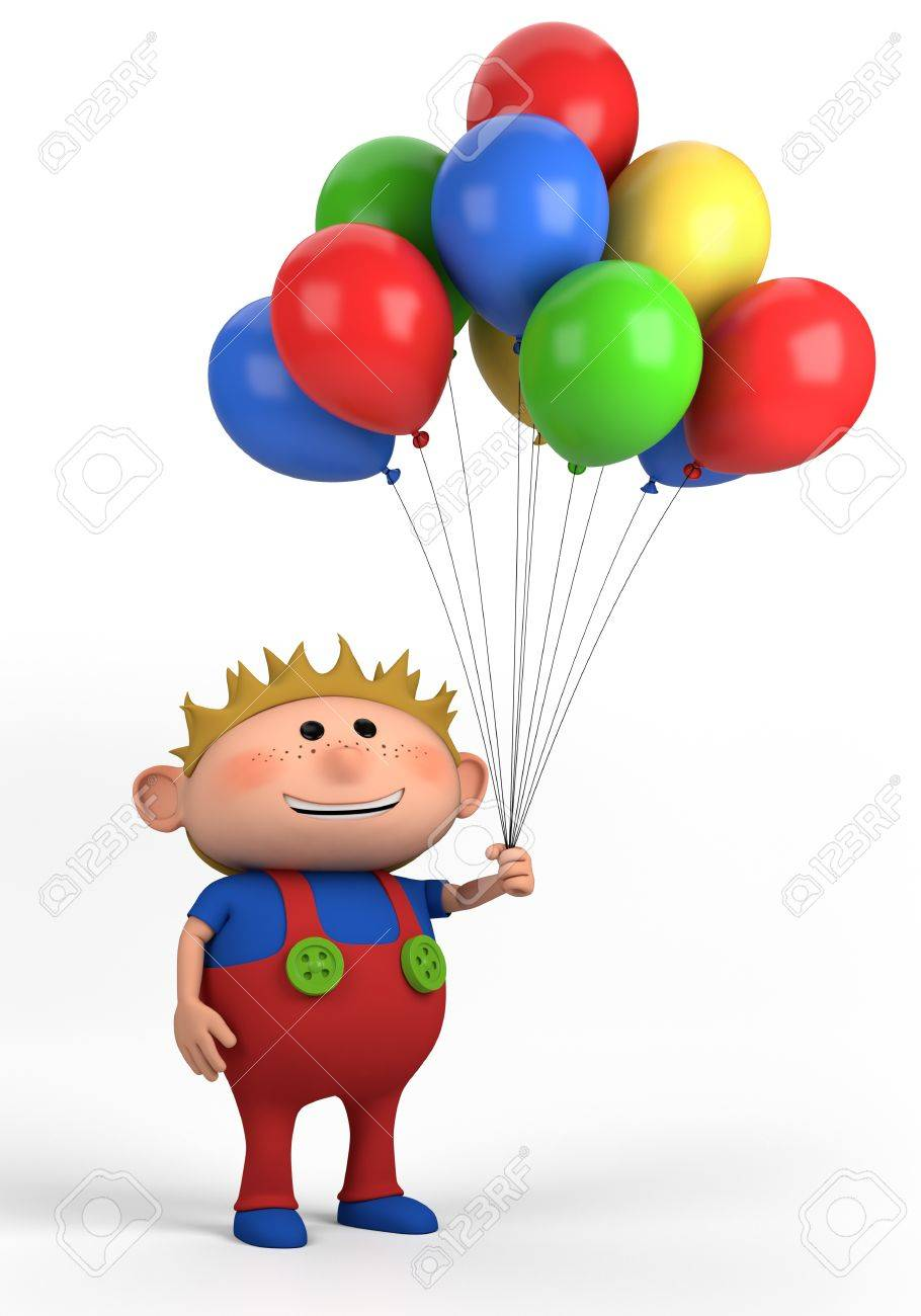 blond boy with balloons; high quality 3d illustration - 9458099