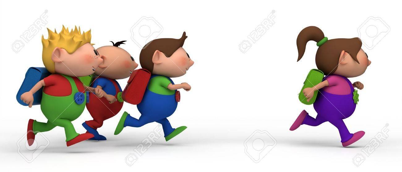 6832efa8af65eb Foto de archivo - Niños de escuela de izquierda a derecha - tres chicos  persiguiendo a una chica - hacia el concepto de escuela