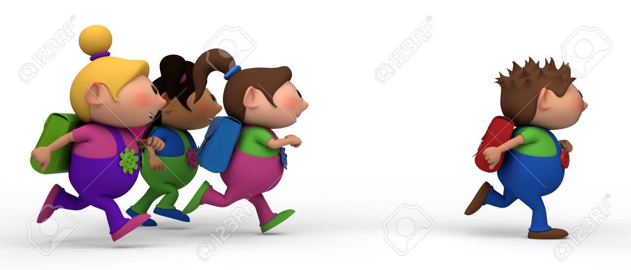 5f628377c Foto de archivo - Niños de escuela de izquierda a derecha - tres niñas  persiguiendo a un niño - hacia el concepto de escuela