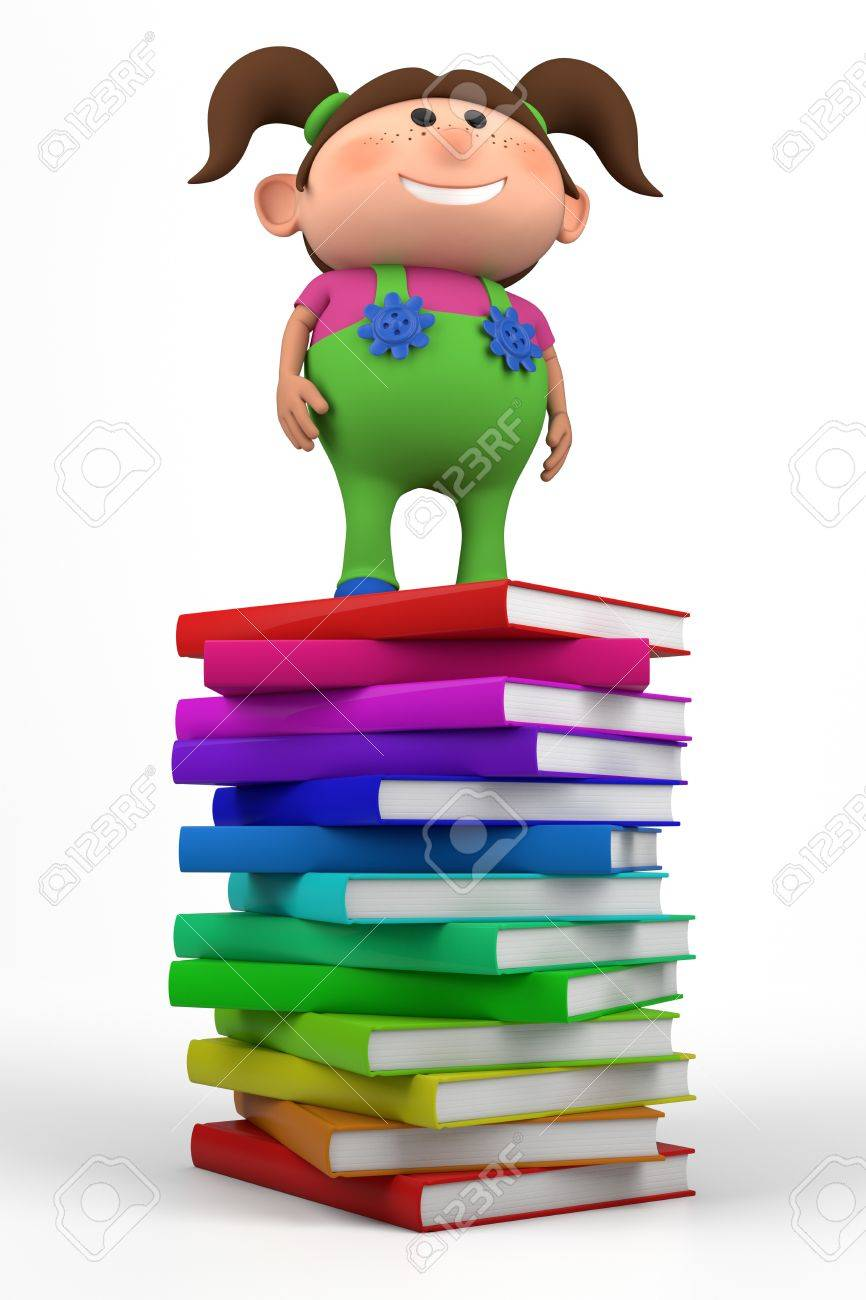 cute little girl standing on top of a stack of books - high quality 3d illustration Stock Photo - 9581814