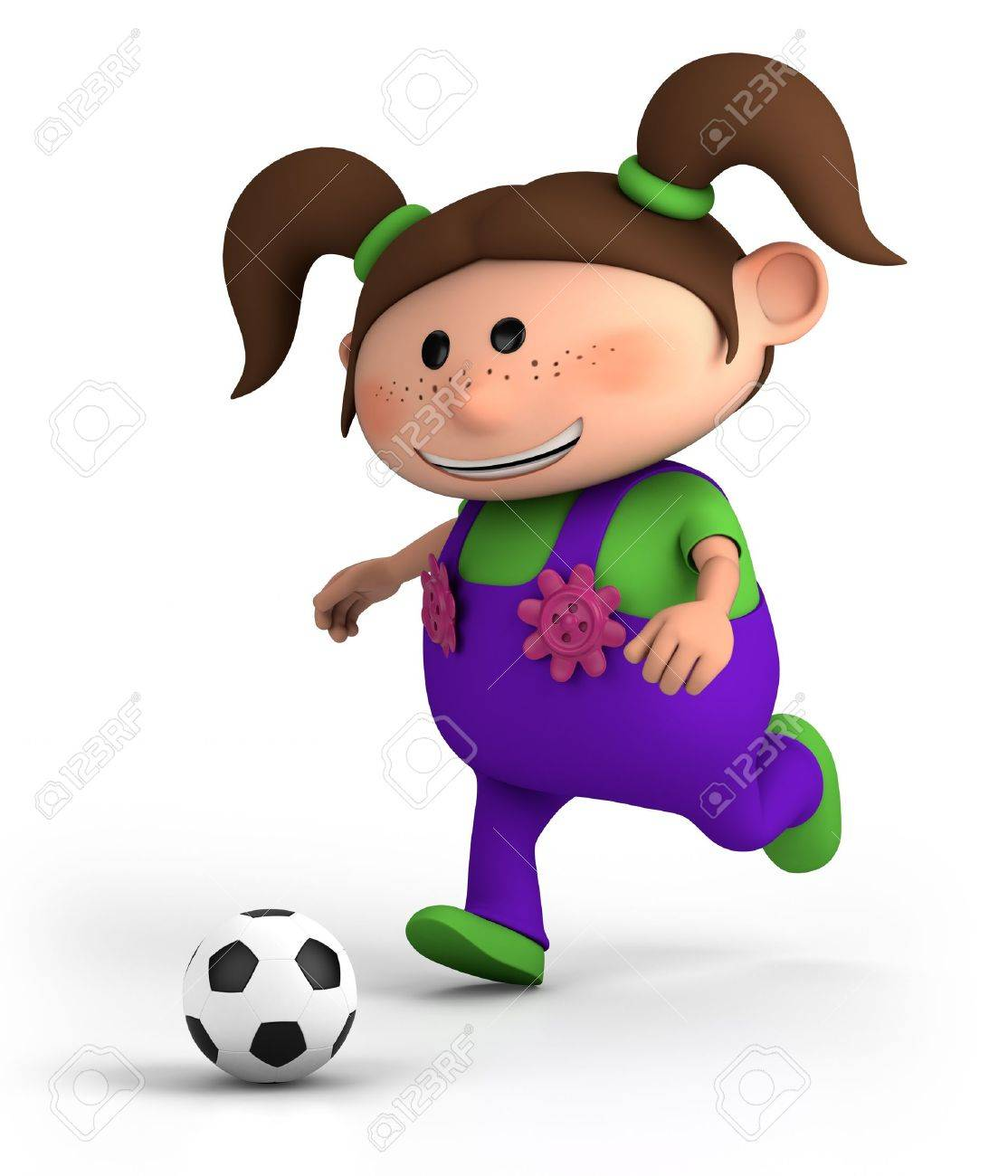cute little cartoon girl playing soccer - high quality 3d illustration Stock Photo - 9970131