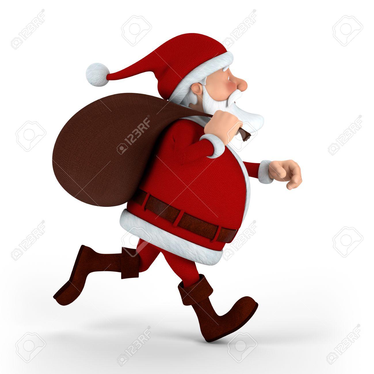 Immagini Babbo Natale Con Sacco.Cartoon Babbo Natale Con Sacco In Esecuzione Su Sfondo Bianco Alta Illustrazione 3d Di Qualita