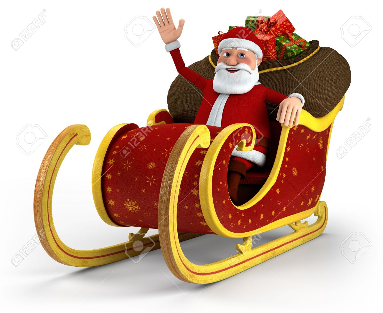 Cartoon Santa Claus sitting in his sleigh and waving - on white background - high quality 3d illustration Stock Illustration - 10109323