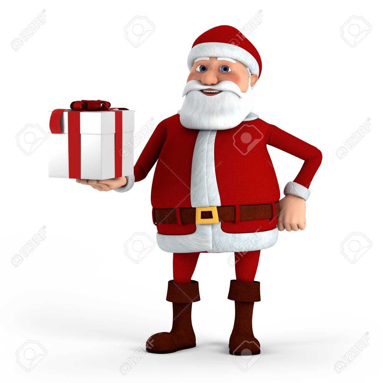 Cartoon Santa Claus offering present - high quality 3d illustration Stock Photo - 10255564
