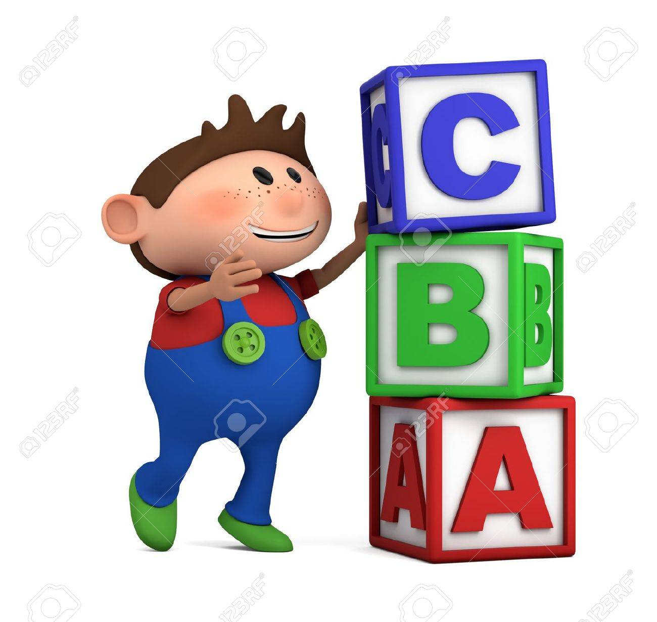 school boy stacking ABC blocks on top of each other - high quality 3d illustration Stock Photo - 10468433