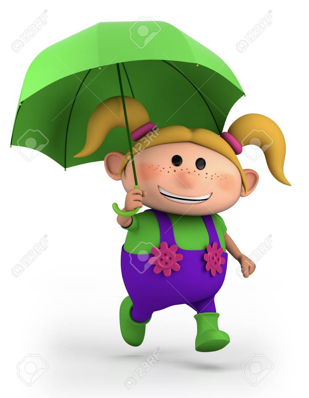 cute school girl with umbrella - high quality 3d illustration Stock Photo - 10927186