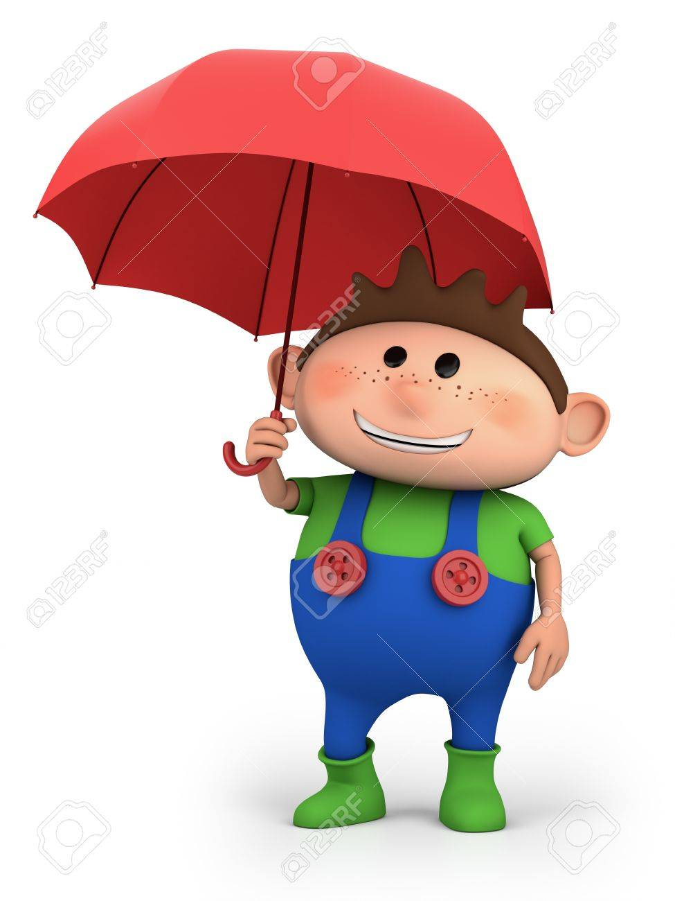 boy with umbrella high quality 3d illustration stock photo