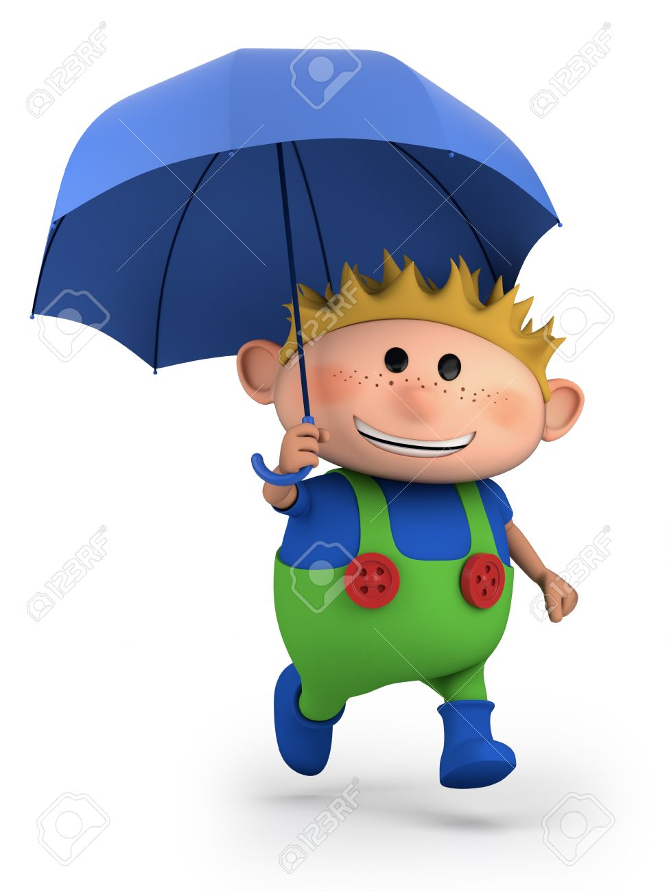 boy with umbrella high quality 3d illustration stock photo