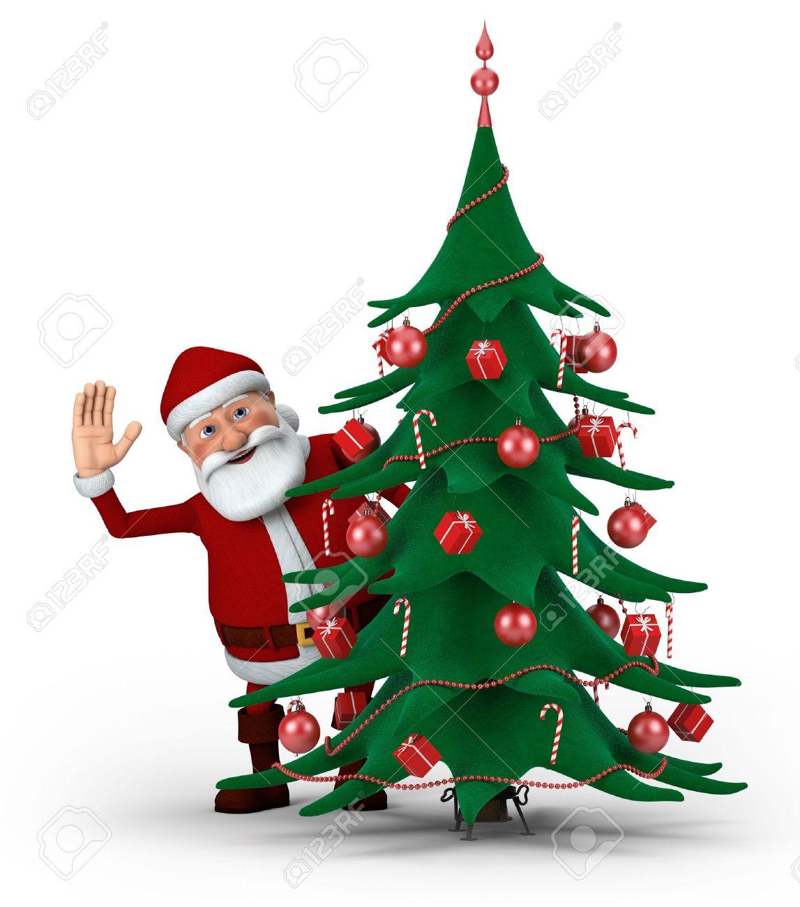 Cartoon Santa Claus Waving From Behind Christmas Tree High  - Quality Christmas Tree
